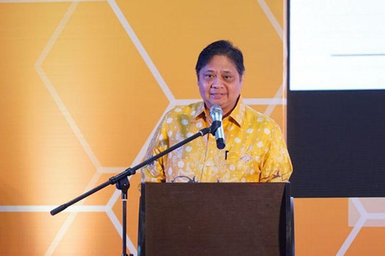 Menperin Airlangga Hartanto sedang memberikan Sambutan pada acara e-Smart IKM 2019 IKM GO DIGITAL di Kota Bogor (Foto: dok. Kemenperin)