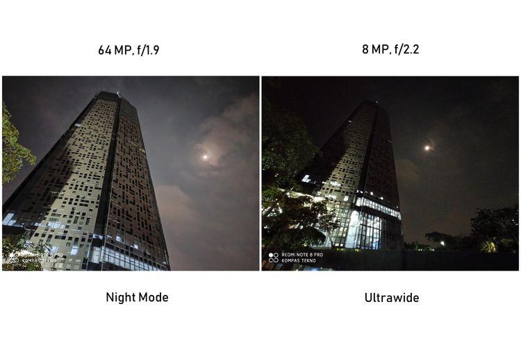Hasil kamera ultrawide 8 MP Redmi Note 8 Pro dalam kondisi malam. Gambar di sebelah kiri merupakan kamera utama 64 MP dengan Night Mode. Kemudian, gambar di sebelah kanan merupakan hasil foto kamera ultrawide 8 MP tanpa menggunakan mode malam. Bisa dilihat, detail foto sebelah kanan tampak tak sejelas foto sebelah kiri. Namun, objek yang didapat oleh foto sebelah kanan lebih banyak ketimbang gambar di sebelah kiri.
