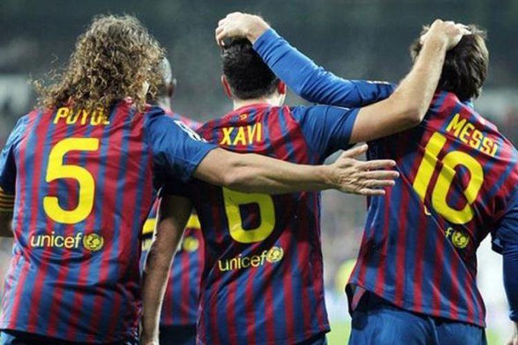 Tiga pilar penting Barcelona: Carles Puyol, Xavi Hernandez, Lionel Messi