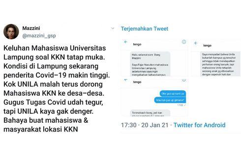 Twit Viral di Medsos, Unila Ngotot Mahasiswa KKN Turun Lapang ke Desa-desa, padahal Kasus Covid-19 Tinggi