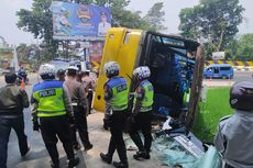 Hindari Tumpahan Solar, Bus Terguling ke Sawah di Cianjur