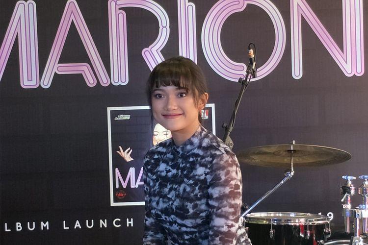 Marion Jola saat jumpa pers peluncuran album perdananya Marion di KFC Cideng, Jakarta Pusat, Selasa (27/8/2019).