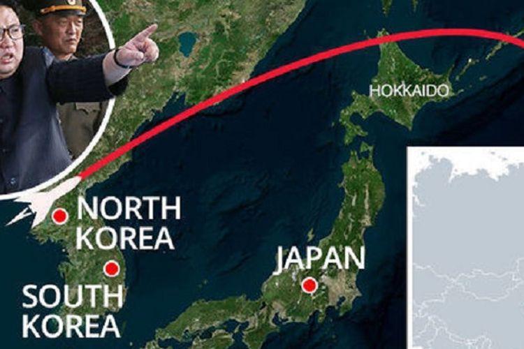 Lintasan jelajah rudal Korea Utara yang melewati Hokkaido, Jepang, Selasa (29/8/2017) pagi