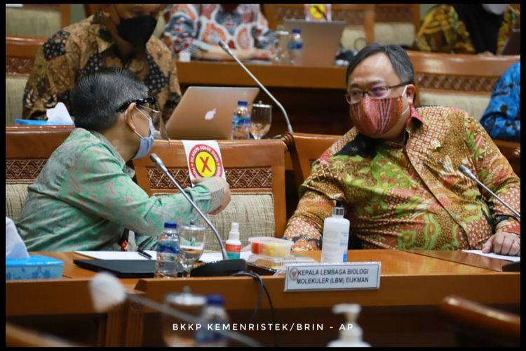 Menristek saat rapat dengan DPR Komisi IX, Rabu (10/3/2021) terkait vaksin merah putih.