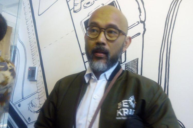 Deputi Akses Permodalan Badan Ekonomi Kreatif (Bekraf), Fajar Hutomo memberikan keterangan usai peluncuran food innovation and knowledge hub bersama Food Accelerator, Accelerice di Kawasan Kuningan, Jakarta Selatan, Senin (25/3/2019).