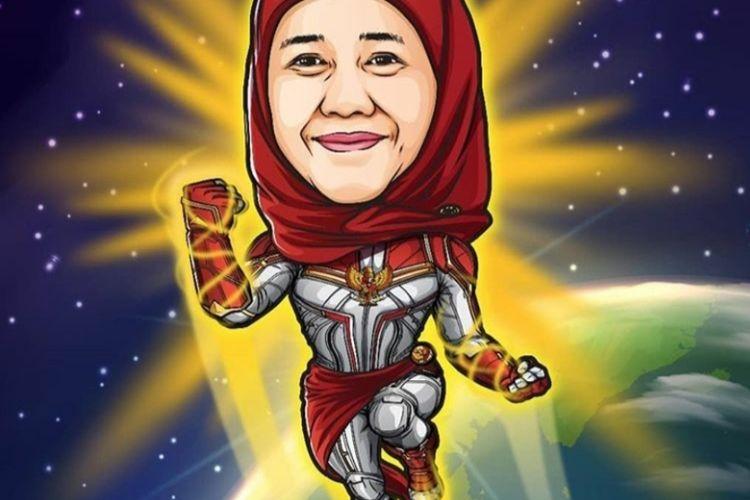 Karikatur Superhero Khofifah Indar Parawansa yang diunggah di akun instagram @khofifah.ip