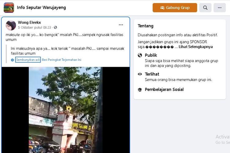 Tangkapan layar unggahan akun @Wong Eleekx yang viral