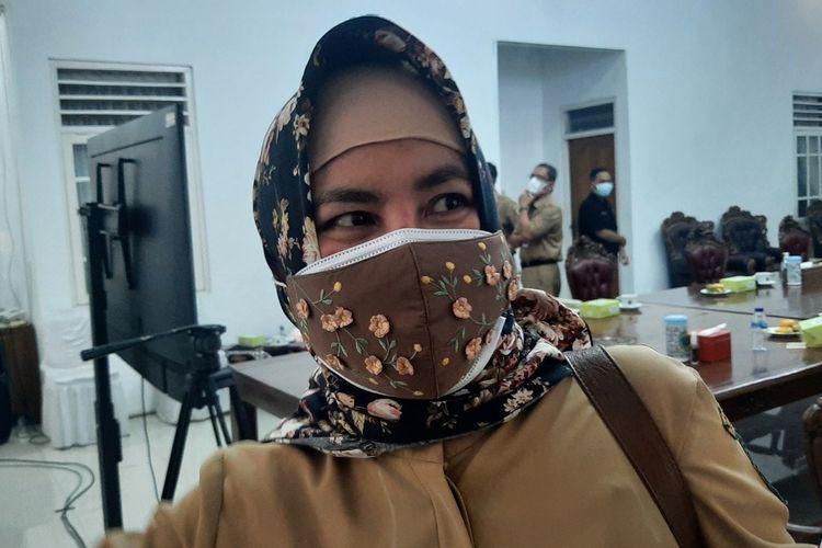 Direktur RSUD Wonosari Heru Sulistyowati di Rumah Dinas Bupati Gunungkidul Selasa (6/7/2021)