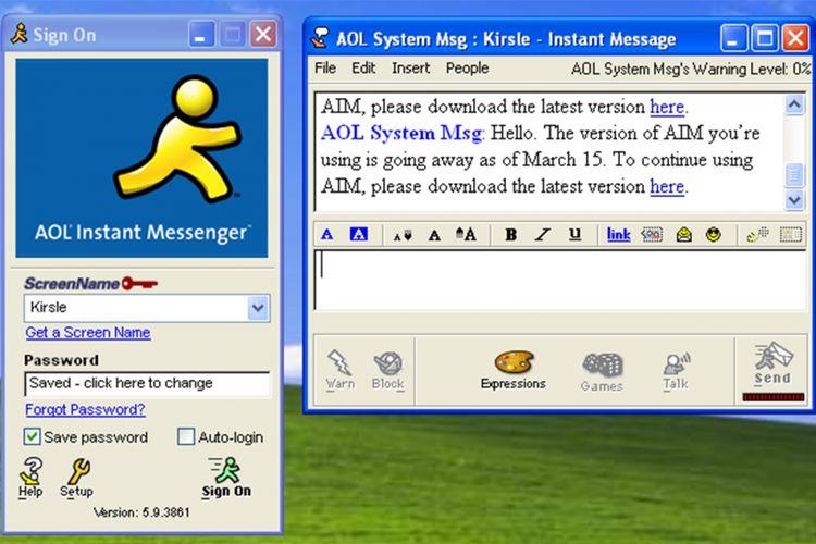 Tampilan antarmuka aplikasi chatting AOL Instant Messaging di Windows.