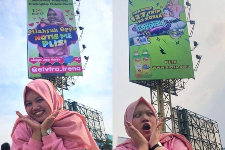Elvira Irena, fans K-pop yang viral lantaran sosoknya terpampang dalam billboard berukuran besar di sekitar Simpang Bekasi Cyber Park awal Oktober 2019. Konten ini ternyata merupakan bagian kampanye salah satu minuman.