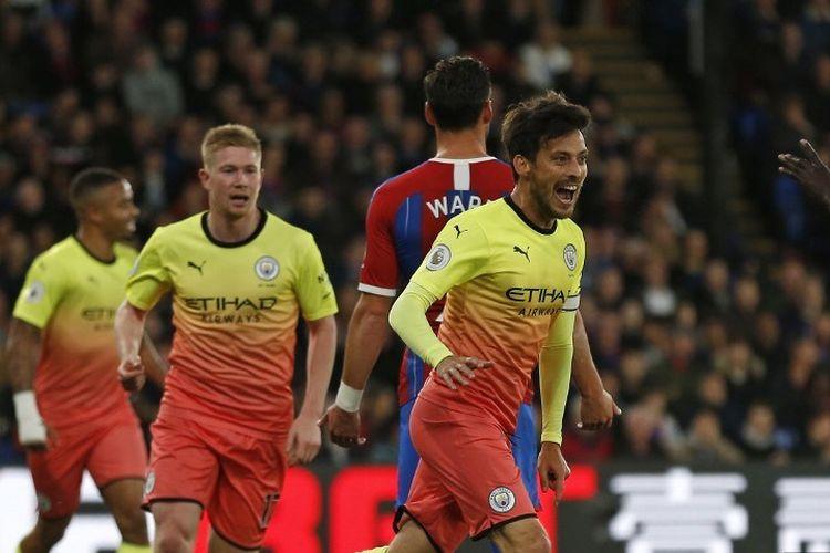 David Silva merayakan golnya pada pertandingan Crystal Palace vs Manchester City dalam lanjutan Liga Inggris di Stadion Selhurst Park, 19 Oktober 2019.