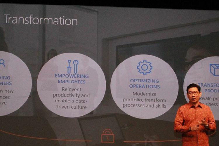 Andreas Diantoro, President Director, Microsoft Indonesia menjelaskan makna empat pilar transformasi digital, dalam paparan hasil studi The Microsoft Asia Digital Transformation Study: Enabling The Intelligent Enterprise.