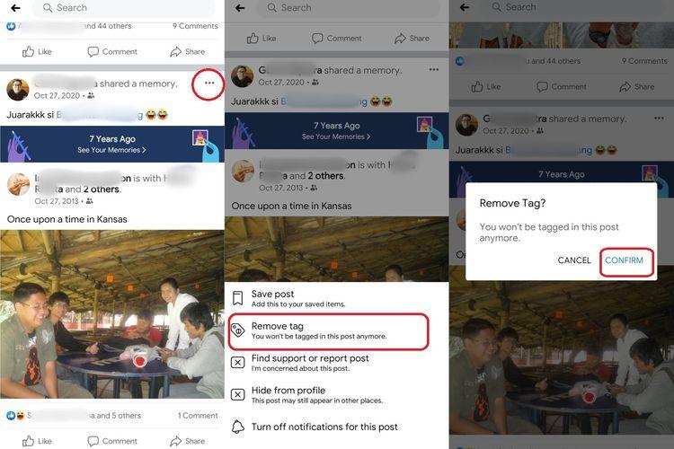 Cara menghapus tag dalam sebuah postingan di Facebook.