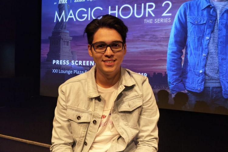Maxime Bouttier saat diwawancarai usai jumpa pers peluncuran Magic Hour: The Series 2 di XXI Plaza Senayan, Senayan, Jakarta Selatan, Rabu (16/1/2019).