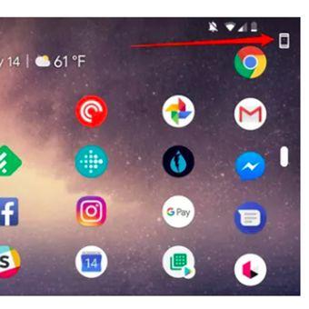 Tombol khusus di atas layar perangkat Android Pie untuk mengunci orientasi layar.