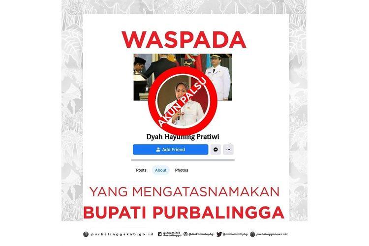 Tangkapan layar akun palsu Bupati Purbalingga, Dyah Hayuning Pratiwi yang diunggah oleh instagram Dinkominfo Purbalingga, Selasa (12/1/2021).