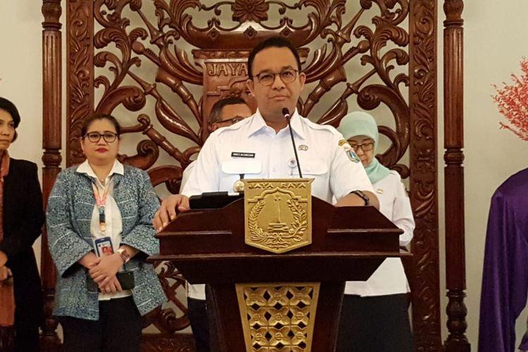 Gubernur DKI Jakarta Anies Baswedan di Balai Kota DKI Jakarta, Jalan Medan Merdeka Selatan, Rabu (11/3/2020).