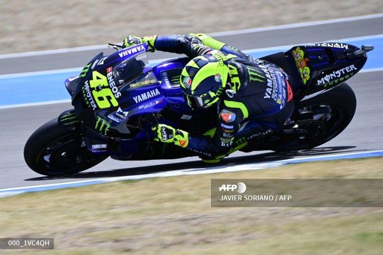 Valentino Rossi saat sesi latihan bebas MotoGP Spanyol (17/7/2020)