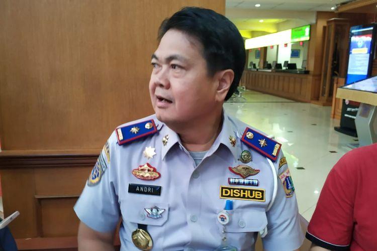 Kepala Dinas Perhubugan Andri Yansyah datangai Polda Metro Jaya, Selasa (17/7/2018)
