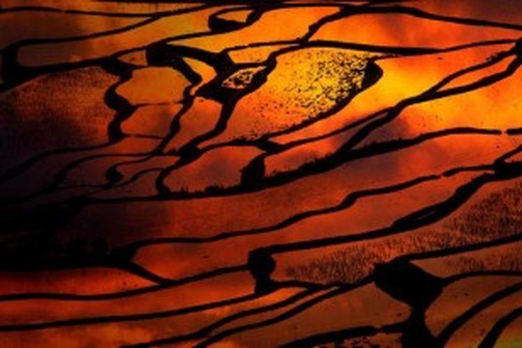 Matahari terbenam di areal persawahan di Distrik Yuanyang, Provinsi Yunnan, China. Komite Warisan Dunia UNESCO, 22 Juni 2013 memutuskan areal persawahan di Yunnan masuk dalam Warisan Dunia.