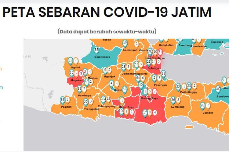 Peta sebaran kasus Covid-19 di Jatim per 24 Maret 2020