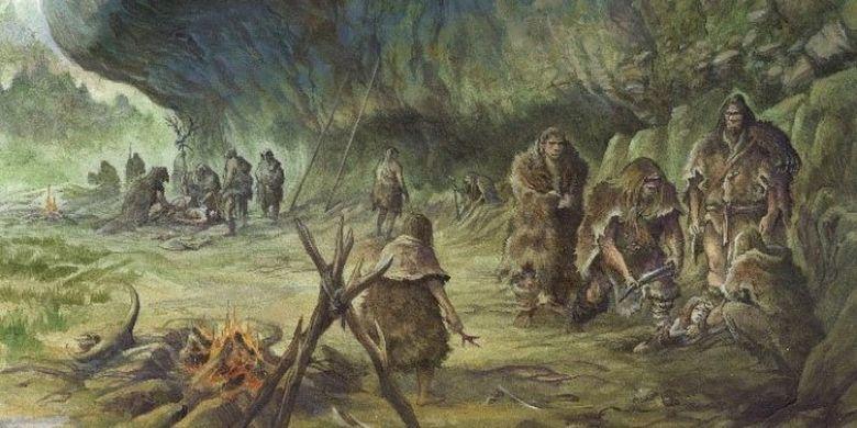 Reconstrucción neandertal del entierro.