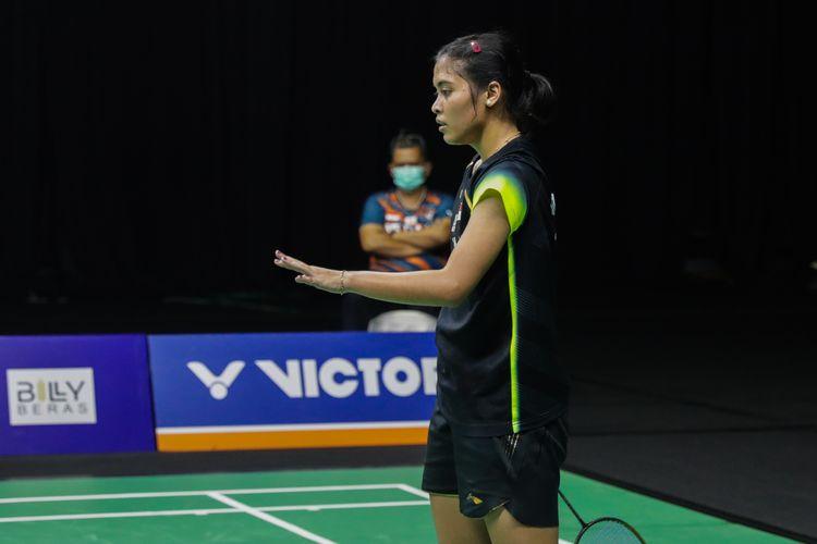 Tunggal putri Indonesia Gregoria Mariska Tunjung saat tampil pada Simulasi Olimpiade Tokyo 2020 yang digelar PBSI di Pelatnas Cipayung, Jakarta Timur, Kamis (17/6/2021).
