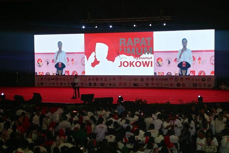 Rapat Umum Relawan Jokowi di Sentul, Bogor, Sabtu (4/8/2018).