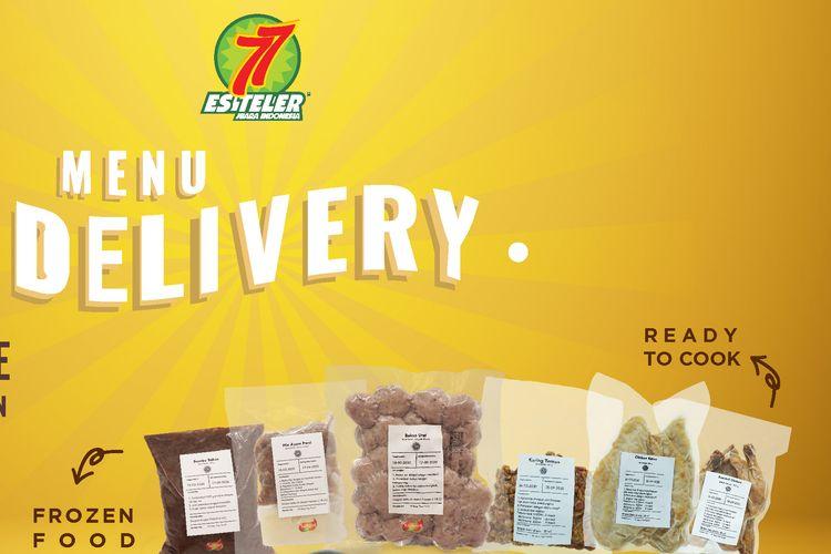 Menu pesan antar Es Teler 77 yaitu Frozen Food, Ready To Cook, dan Ready To Eat.