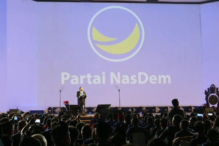 Ketua Umum Partai NasDem Surya Paloh ketika memberikan sambutan dalam Rapat Kerja Nasional (Rakernas) Partai NasDem ke-IV di JI-EXPO Kemayoran, Jakarta Pusat, Rabu, (15/11/2017).