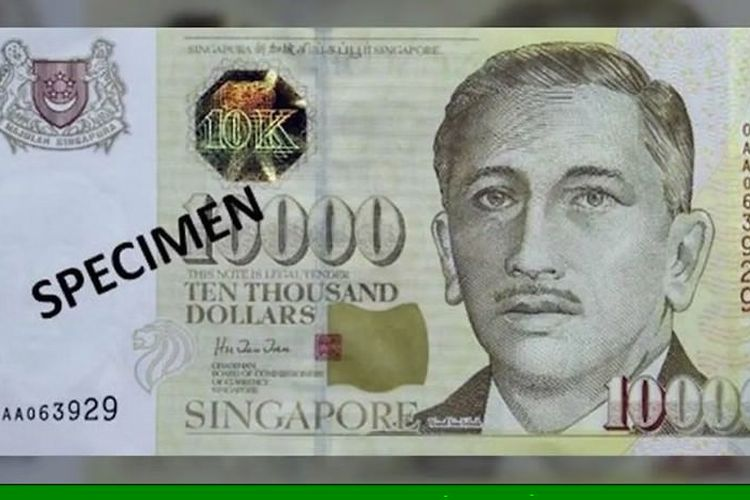 Lembaran Uang 10.000 Dollar Singapura