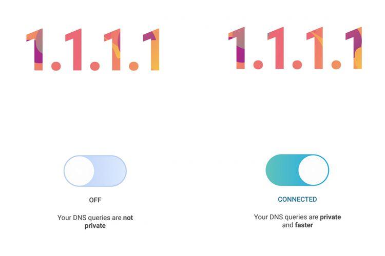 Tampilan aplikasi Android Cloudflare DNS dengan satu tombol besar untuk terhubung ke layanan DNS publik 1.1.1.1.