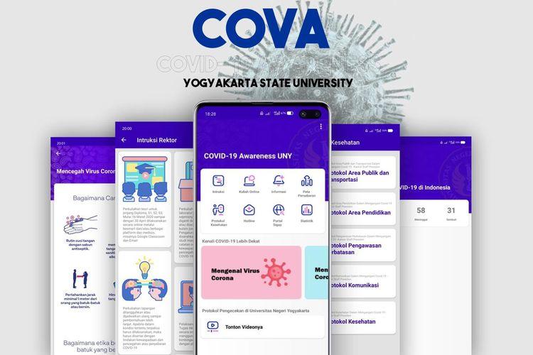 Aplikasi Cova-Covid-19 yang diluncurkan UNY.