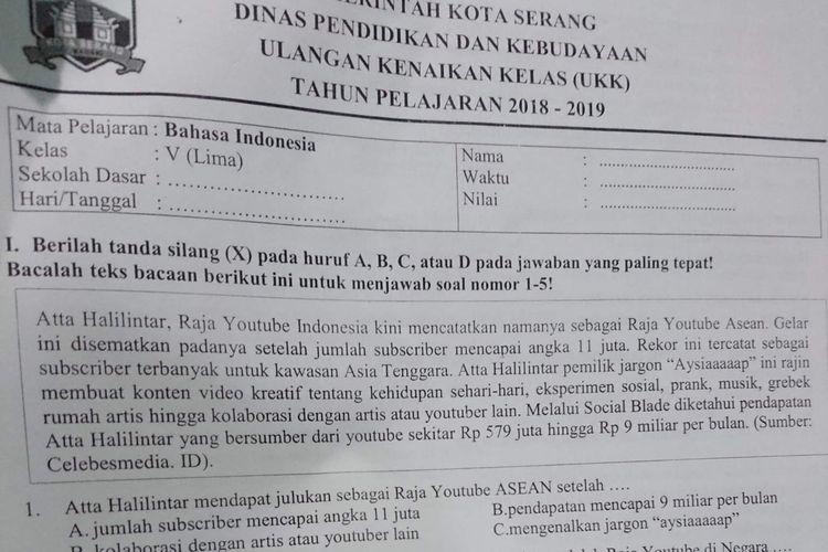 Soal ulangan kenaikan kelas (UKK) di sebuah sekolah di Kota Serang yang mencantumkan nama Atta Halilintar dengan kop resmi Pemkot Serang.