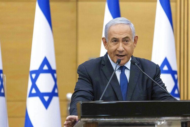 Perdana Menteri Israel Benjamin Netanyahu berbicara kepada Parlemen Israel di Yerusalem, Minggu, 30 Mei 2021.