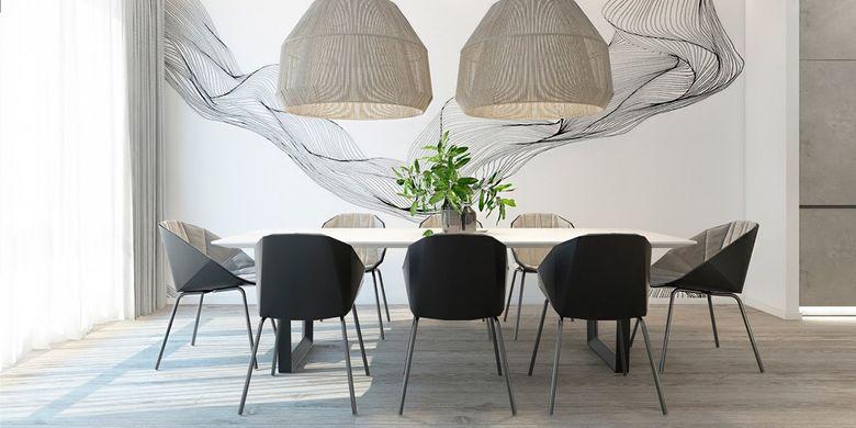 Lampu gantung super besar sebagai focal point dalam ruang makan
