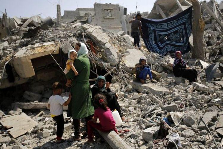 Pertikaian Israel dan kelompok Palestina di Gaza pada 2014 membuat penghuni kawasan itu menderita.