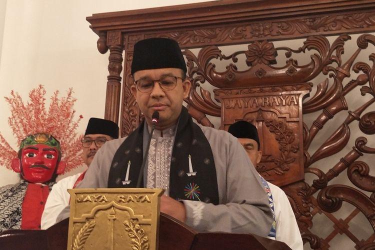 Gubernur DKI Jakarta Anies Baswedan di Balai Kota DKI Jakarta, Jalan Medan Merdeka Selatan, Jumat (1/11/2019).