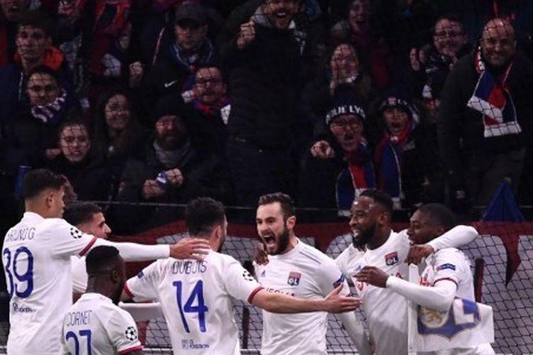 Skuad Olympique Lyon saat tampil di Liga Champions 2019-2020 menghadapi Juventus, 26 Februari 2020.