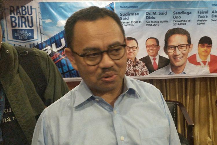 Direktur Badan Pemenangan Nasional (BPN) pasangan Prabowo Subianto-Sandiaga Uno, Sudirman Said, saat ditemui di Hotel Ambhara, Jakarta Selatan, Rabu (12/12/2018) malam.