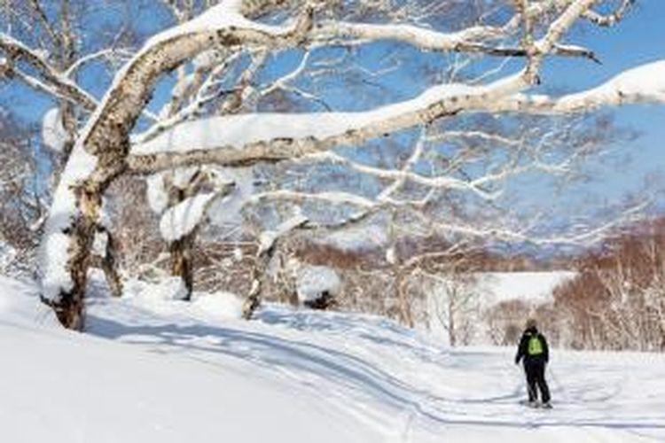 Wisata ski di Niseko, Jepang.