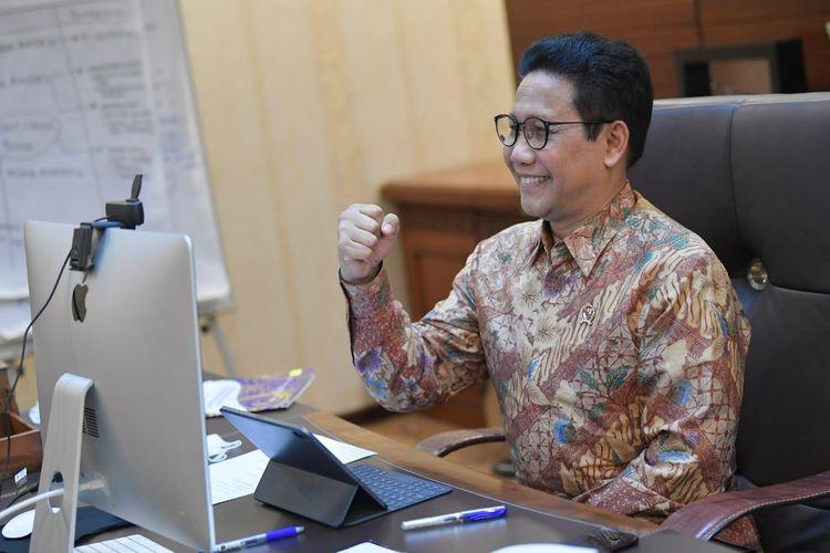 Mendes PDTT, Abdul Halim Iskandar saat menjadi pembicara kunci dalam Webinar ke 3 Menggali Potensi Permodalan Desa dengan tema UU Cipta Kerja Solusi BUMDes Mengakses Permodalan di Perbankan yang digelar secara virtual oleh Lokadata, Kamis (3/12/2020).