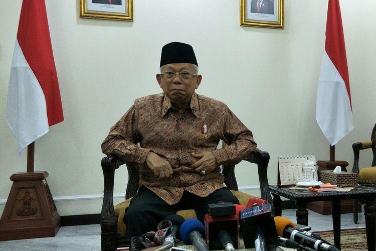 Wakil Presiden Maruf Amin di Istana Wakil Presiden, Jakarta, Jumat (1/11/2019)