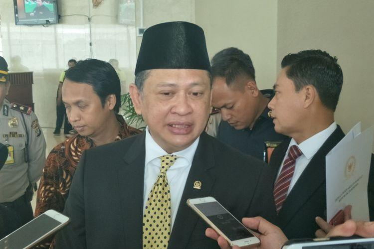 Ketua DPR Bambang Soesatyo saat ditemui di Gedung Nusantara II, Kompleks Parlemen, Senayan, Jakarta, Senin (5/3/2018).
