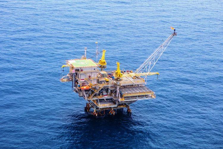 Anjungan pengeboran lepas pantai milik PT Pertamina Hulu Energi di Aceh Utara