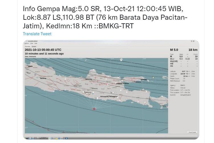 Tangkapan layar twit gempa Yogyakarta dari Kepala Bidang Mitigasi Gempa Bumi dan Tsunami Badan Meteorologi, Klimatologi, dan Geofisika (BMKG) Daryono.