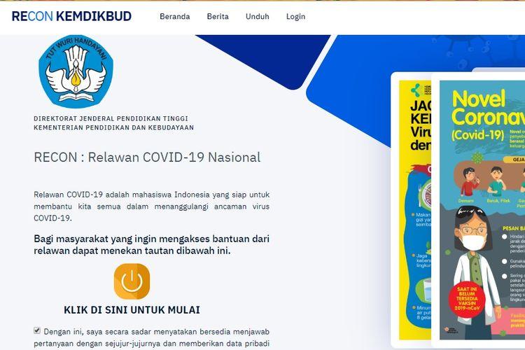 Aplikasi Relawan Covid-19 Nasional (Recon) Kemendikbud