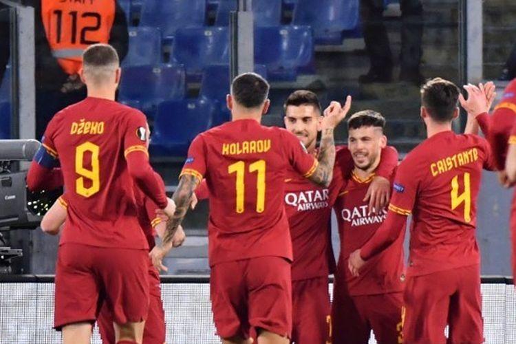 Skuad Giallorossi pada laga Roma vs Gent, Jumat (21/2/2020) dini hari WIB.