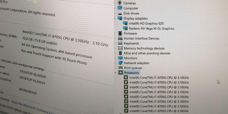 Dell XPS 15 2-in-1 (9575) ditenagai prosesor Intel Core i7-8705G dengan empat inti CPU Kaby Lake (8 thread), berikut GPU terintegrasi Radeon RX Vega M GL.