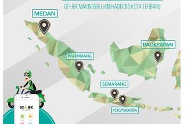 Ekspansi GoJek ke lima kota di Indonesia.